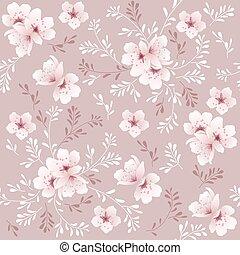 fleur, cerise, seamless, vecteur, modèle fond, floral
