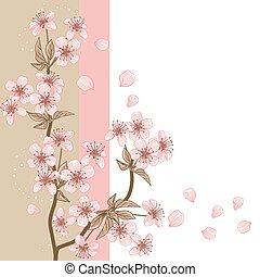 fleur, cerise, stylisé, carte, vecteur