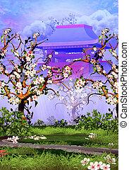 fleur, cerise, temple, arbres, devant