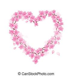 fleur, cerise, vecteur, coeur