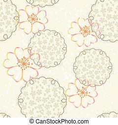 fleur, cerise, vecteur, japonaise, fond