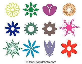 fleur, collection, icônes