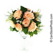 fleur, coloré, artificiel, arrangement, fond, blanc