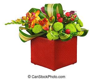 fleur, coloré, bouquet, isolé, arrangement, milieu de table, arrière-plan., blanc, vase, closeup.