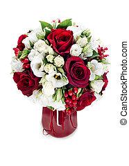 fleur, coloré, bouquet, isolé, arrangement, milieu de table, fond, blanc, vase, rouges