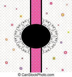 fleur, coloré, polka, conception, point, carte