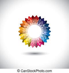 fleur, coloré, printemps, pétales, clair, vecteur, icône