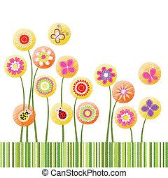 fleur, coloré, résumé, salutation, printemps, carte