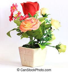 fleur, coloré, rose, vase, arrière-plan., blanc
