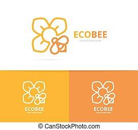 fleur, combination., abeille, vecteur, conception, organiclogotype, floral, logo, unique, template.