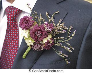 fleur, corsage, sur, a, homme, complet