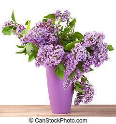 fleur, cruche, lilas, bouquet, surface, bois