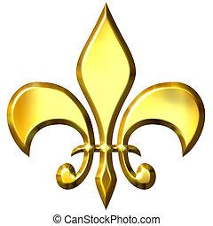 3d golden fleur de lis isolated in white