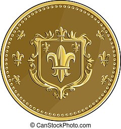 Fleur de lis Coat of Arms Gold Coin Retro
