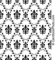 fleur-de-lis, damast, koninklijk, seamless, textuur, vector