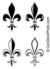 fleur de lis - A Fleur de lis tribal tattoo set