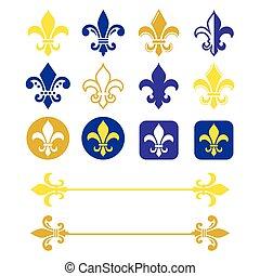 Fleur de lis - French symbol gold and navy blue design, ...