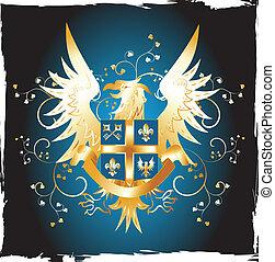fleur-de-lis, grunge, escudo, águia, dourado