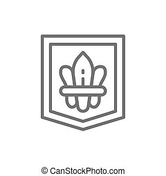 Fleur de lis, heraldic coat of arms, lily flowers line icon.
