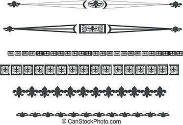Fleur de lis lines and rules.. All lines can be taken apart and mix and match with others in here. forming many variations of different lines, that are editable and scalable. The variations are endless...