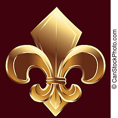 Fleur De Lis, New Orleans in gold vector