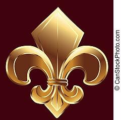 Fleur De Lis, New Orleans in gold vector