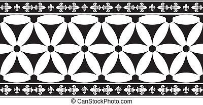 fleur-de-lis, noir blanc, seamless, géométrique, vecteur, gothique, frontière florale