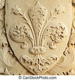 fleur de lis of Florence - close up of the marble...