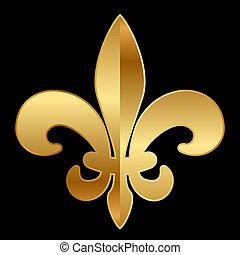 Fleur-de-lis ornament on black - Vector gold Fleur-de-lis...