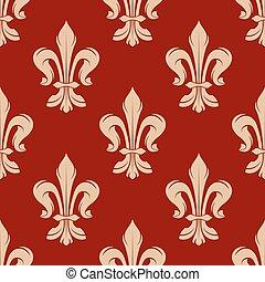 fleur-de-lis, padrão, seamless, floral, vermelho