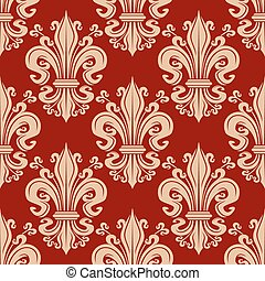 fleur-de-lis, padrão, seamless, floral, vindima