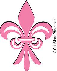 Fleur de lis pink flower vector