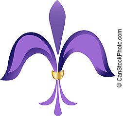 Fleur de lis purple flower with gold
