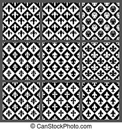 Fleur de lis seamless patterns set