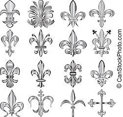 Fleur-de-lis set - Vector set of metal Fleur-de-lis on white