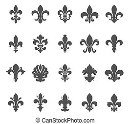 Heraldic Symbols Fleur De Lis Vector Set