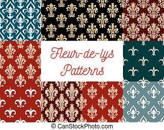 Fleur-de-lis vector patterns set of french lily