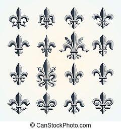 Fleur-de-lis vintage symbols set