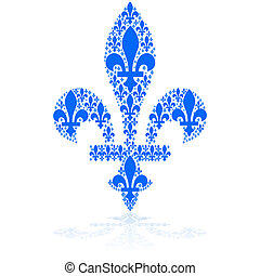 Concept illustration showing a blue fleur-de-lys icon made up of smaller versions of it