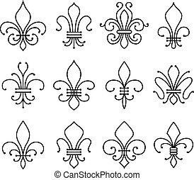 fleur de lys symbols set