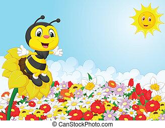 fleur, dessin animé, abeille, séance