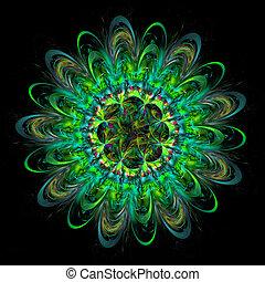 fleur, digitalement, image., élégant, pattern., engendré, fractal, coloré, délicat