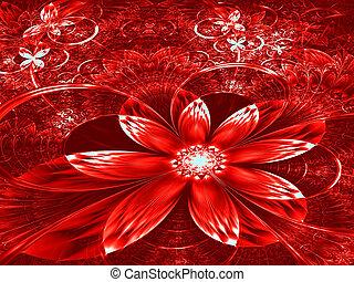 fleur, digitalement, résumé, -, engendré, fractal, image