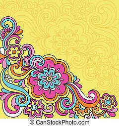 fleur, doodles, psychédélique, cahier