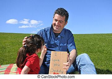fleur, elle, père, jeune fille, carte, donne