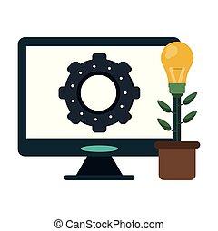 fleur, engrenage, lumière, écran, informatique, ampoule, pot