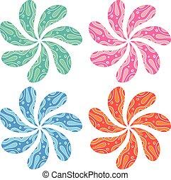 fleur, ensemble, coloré