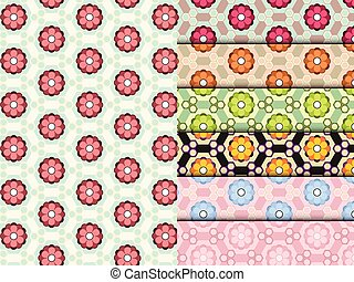 fleur, ensemble, coloré, modèle, seamless, vecteur