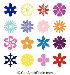 fleur, ensemble, multicolore, silhouette