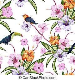 fleur exotique, coloré, modèle, seamless, oiseau tropical